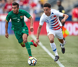 May 28, 2018 - Chester, PA, U.S. - CHESTER, PA - MAY 28: United States defender Antonee Robinson (17) battles with Bolivia defender Carlos Anez (2) during the international friendly match between the United States and Bolivia at the Talen Energy Stadium on May 28, 2018 in Chester, Pennsylvania. (Photo by Robin Alam/Icon Sportswire) (Credit Image: © Robin Alam/Icon SMI via ZUMA Press)