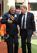 Steve Bruce , manager of Aston Villa (l) and Harry Redknapp, manager of Birmingham city shake hands.  EFL Skybet championship match, Aston Villa v Birmingham city at Villa Park in Birmingham, The Midlands on Sunday 23rd April 2017.<br /> pic by Bradley Collyer, Andrew Orchard sports photography.