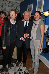 Left to right, DESMOND & PENNY GUINNESS and HELEN EVENDER at a private view of Nesta Fitzgerald's prints held at Selina Blow's store, Ellis Street, London on 27th September 2011.