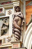 Siren sculpture on the  Organ fountain, 1566, housing organ pipies driven by air from the fountains. Villa d'Este, Tivoli, Italy - Unesco World Heritage Site.