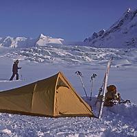 Ski mountaineer Allan Pietrasanta explores around a camp below 16,000 foot Warwan Pass during a pioneering two-week ski expedition across India's Great Himalaya Range, from Ladakh to Kashmir.