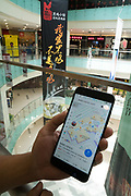 Navigation inside a shopping centre using a mobile telephone. This application allows you to download a map and navigate within the specific shopping centre, to find shops, restaurants, toilets etc. The application works only inside this building
