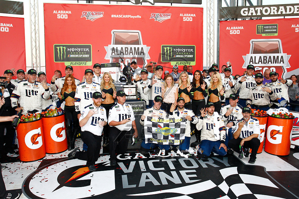 October 15, 2017 - Talladega, Alabama, USA: Brad Keselowski (2) takes the checkered flag and wins the Alabama 500 at Talladega Superspeedway in Talladega, Alabama.
