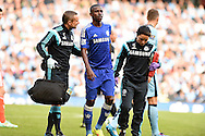 Chelsea's Ramires leaves the field injured. Barclays premier league match, Manchester city v Chelsea at the Etihad stadium in Manchester,Lancs on Sunday 21st Sept 2014<br /> pic by Andrew Orchard, Andrew Orchard sports photography.