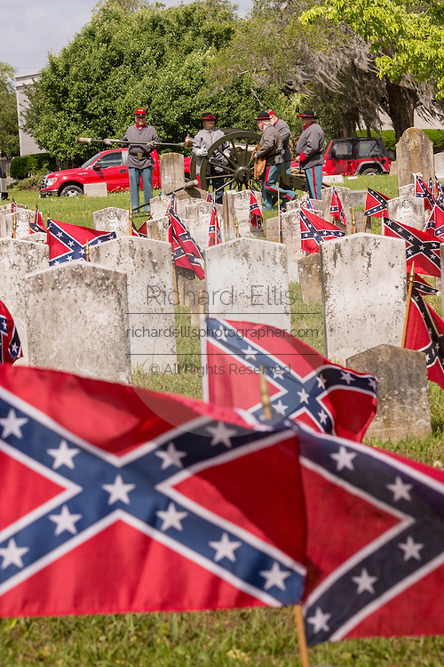 Civil War re-enactors prepare a cannon to fire a gun salute during Confederate Memorial Day events at Magnolia Cemetery April 10, 2014 in Charleston, SC. Confederate Memorial Day honors the approximately 258,000 Confederate soldiers that died in the American Civil War.