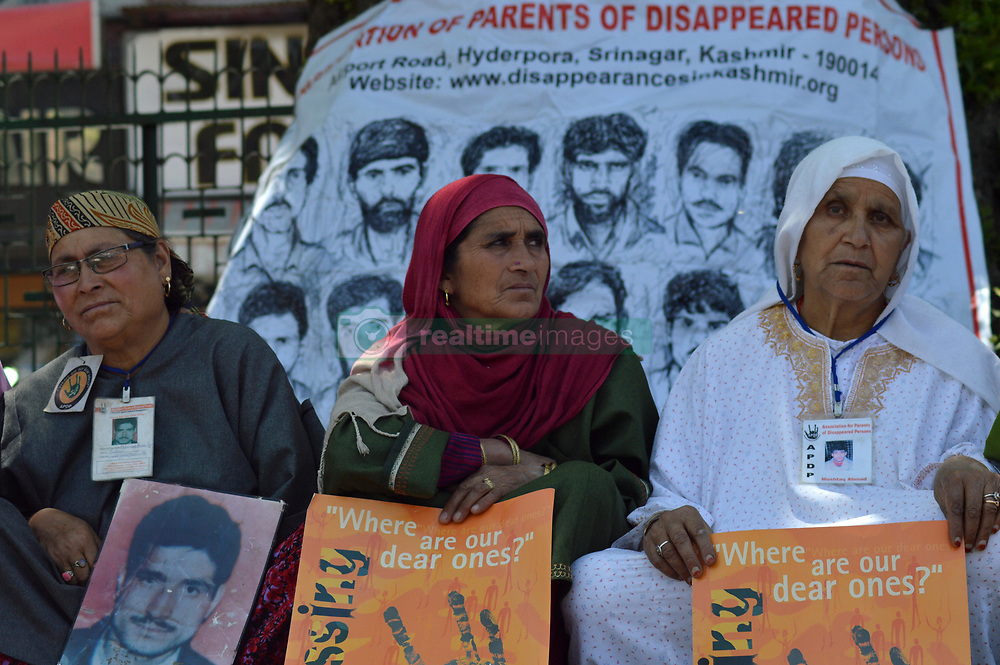 May 10, 2017 - Srinagar, Jammu and Kashmir, India - Relatives of missing Kashmiri youths participate in a sit-in protest organized by the Association of Parents of Disappeared Persons (APDP) in Srinagar, Indian controlled Kashmir, Wednesday, May 10, 2017. According to APDP about 8,000-10,000 people have gone missing since the beginning of the Kashmir conflict in 1989, mostly arrested by Indian security agencies. (Credit Image: © Zahid Bhat/Pacific Press via ZUMA Wire)