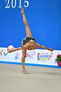 Wegscheider Natascha during qualifying at ball in Pesaro World Cup 10 April 2015. Natascha was born in Graz , Austria, 1999. She is an Austrian individual rhythmic gymnast.