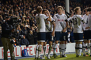 Kyle Walker of Tottenham Hotspur (2nd left) celebrates scoring his teams 4th goal to make it 4-0 with Harry Kane of Tottenham Hotspur (l). Barclays Premier league match, Tottenham Hotspur v West Ham Utd at White Hart Lane in London on Sunday 22nd November 2015.<br /> pic by John Patrick Fletcher, Andrew Orchard sports photography.