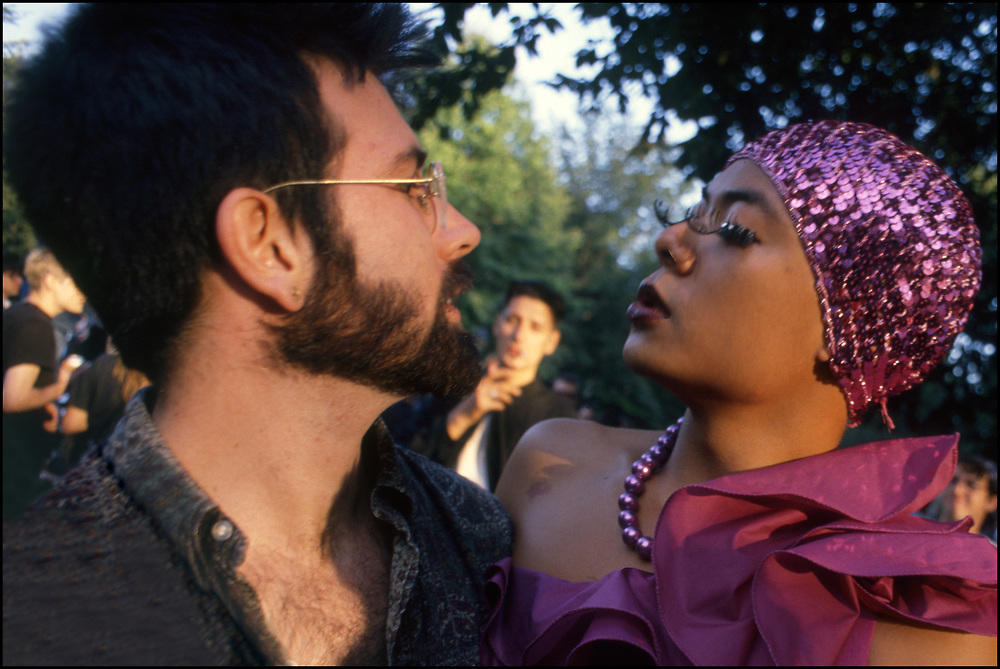 John Kelly and Jose Fidelino at Wigstock, an annual outdoor drag festival that began in the 1980s in Tompkins Square Park in the East Village of New York City that took place on Labor Day.