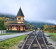 An old fashioned railway station on a foggy autumn day at Crawford Notch in the White Mountains of New Hampshire, USA