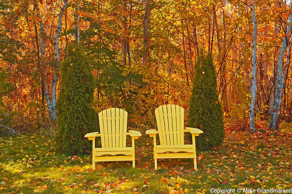Muskoka Chairs and autumn colors<br />Sudbury<br />Ontario<br />Canada