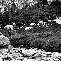 Roger Schley drinks from a mountain stream in the Sawtooth Range of the Sierra Nevada, near Bridgeport, California.