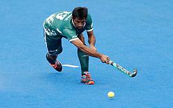 Pakistan's Niwaz Ashfaq during the Men's World Hockey League Semi Final, 7th/8th place match at Lee Valley Hockey Centre, London.