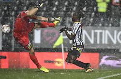 February 11, 2018 - France - Mamadou Fall midfielder of Sporting Charleroi scoring and Davino Verhulst goalkeeper of Sporting Lokeren (Credit Image: © Panoramic via ZUMA Press)