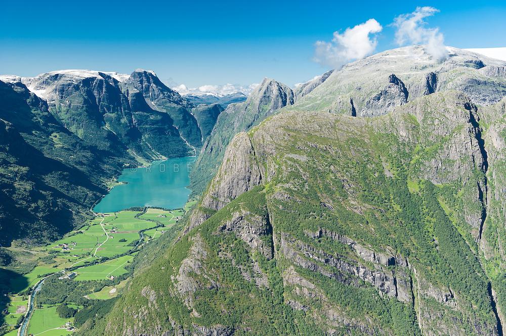 Overview over Oldevatnet lake in Oldedalen, Norway