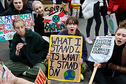 © Licensed to London News Pictures. 23/02/2019. London, UK. Hundreds of students with placards take part in a climate change protest in Westminster, highlighting the dangers of climate change. Photo credit: Dinendra Haria/LNP