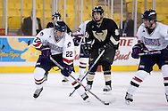 October 13, 2007 - Anchorage, Alaska: Sean Berkstresser (22) of the Robert Morris Colonials lines up a shot in the 4-1 victory over the Wayne State Warriors at the Nye Frontier Classic at the Sullivan Arena.