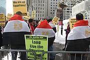 29 January 2011- New York, NY- Protestors at The Egyptian Solidarity Demonstration in support of political & social upheaveal against Egyptian President Murbarak in Egypt held in Dag Hammarskjöld Plaza on January 29, 2011 in New York City. Photo Credit: Terrence Jennings