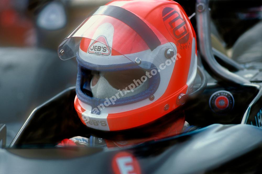 Lamberto Leoni (Ensign-Ford) in the pits wth his helmet on before thr 1978 Brazilian Grand Prix at the Jacarepagua circuit outside Rio de Janeiro. Photo: Grand Prix Photo