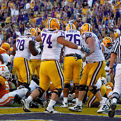 Oct 2, 2010; Baton Rouge, LA, USA; LSU Tigers players celebrate following a game winning touchdown against the Tennessee Volunteers at Tiger Stadium. LSU defeated Tennessee 16-14.  Mandatory Credit: Derick E. Hingle