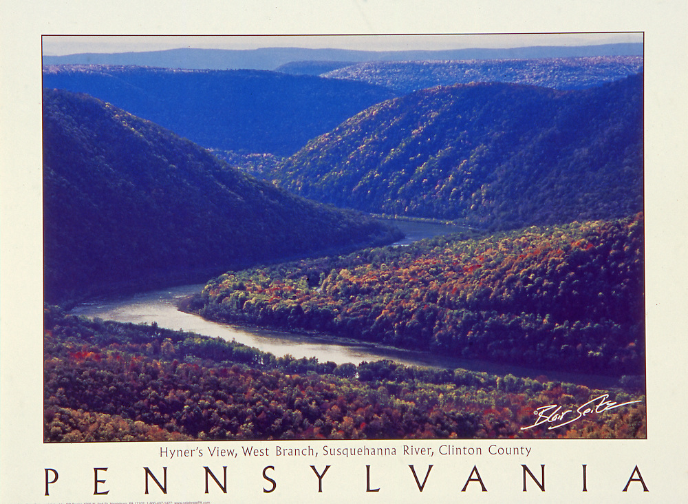 """Poster of the West Branch of the Susquehanna River, Clinton County, Pennsylvania. White border with """"Pennsylvania"""" written at bottom with space for framing."""