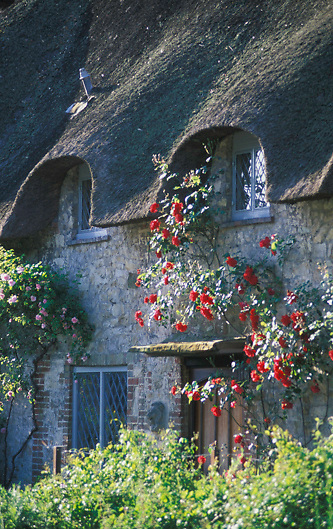 Architectural detail of a house in the village of Amberly located in Sussex, England.