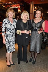 Left to right, SAMANTHA BOND, DAME DIANE RIGG and her daughter RACHAEL STIRLING at the 2014 Costa Book of The Year Awards held at Quaglino's, Bury Street, London on 27th January 2015.  The winner of the Book of The Year was Helen Macdonald for her book H is for Hawk.
