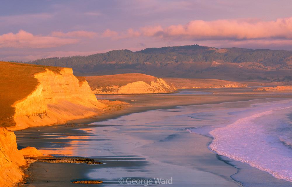 Drakes Beach and the Inverness Ridge at Sunset, Point Reyes National Seashore, California