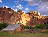Barn and pasture in Fruita Historic District, Capital Reef National Park Utah USA