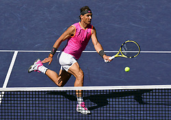 March 15, 2019 - Indian Wells, CA, U.S. - INDIAN WELLS, CA - MARCH 15: Rafael Nadal (ESP) returns a ball near the net in the first set of a quarterfinals match played during the BNP Paribas Open on March 15, 2019 at the Indian Wells Tennis Garden in Indian Wells, CA. (Photo by John Cordes/Icon Sportswire) (Credit Image: © John Cordes/Icon SMI via ZUMA Press)