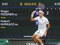 Lawn Tennis - 2021 All England Championships - Week Two - Wednesday - Wimbledon<br /> Roger Federer v Hubert Hurkacz<br /> <br /> Roger Federer<br /> <br /> Credit : COLORSPORT/Andrew Cowie