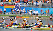 Shunyi, CHINA.  CHN W4X and GBR W4X, Bow, Annie VERNON, Debbie FLOOD, Frances HOUGHTON and Katherine GRAINGER, racing for the line, at the 2008 Olympic Regatta, Shunyi Rowing Course.  Sun 17.08.2008.  [Mandatory Credit: Peter SPURRIER, Intersport Images