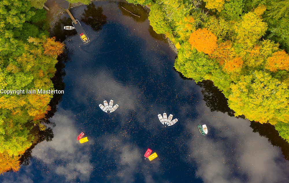 Pitlochry, Scotland, UK. 12 October 2020. Aerial view of rowing boats moored on Loch Faskally in Pitlochry.  Iain Masterton/Alamy Live News