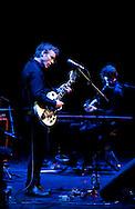 American Indie rock band Low performing at the Barbican, London, UK (30 April 2013). Alan Sparhawk (vocals, guitar) and Steve Garrington (bass, keyboards).