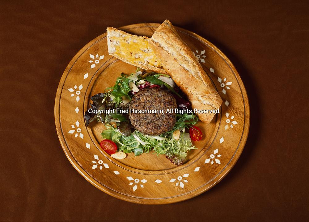"Garden Burger prepared by Chef Kirsten Dixon from recipe in her ""Winterlake Lodge Cookbook"" and photographed in Wasilla, Alaska."