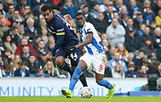 Brighton and Hove Albion midfielder Yves Bissouma (8) battlers with Derby County midfielder Tom Huddlestone (44)  during the The FA Cup 5th round match between Brighton and Hove Albion and Derby County at the American Express Community Stadium, Brighton and Hove, England on 16 February 2019.