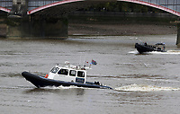 Port of London Authority Launch/pilot cutter Benfleet, Metropolitan Police Marine Unit Rigid Inflatable Boat (RIB), Emergency Services Exercise, Lambeth Reach River Thames, London UK, 23 October 2017, Photo by Richard Goldschmidt