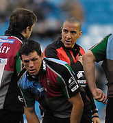 Twickenham, GREAT BRITAIN, Referee David ROSE has a word with Quins capt. Paul VOLLEY, during the Guinness Premieship match, NEC Harlequins vs Bristol Rugby, at the Twickenham Stoop Stadium, England, on Sat 24.02.2007  [Photo, Peter Spurrier/Intersport-images].....