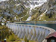 Fedaia lake and dam in Trentino, Italy