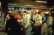 Travelers rushing at airport. Minneapolis St Paul International Airport Charles Lindbergh Terminal Minneapolis Minnesota USA