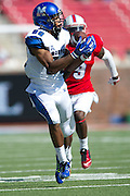 DALLAS, TX - OCTOBER 25:  Phil Mayhue #89 of the Memphis Tigers catches a 54 yard touchdown pass against the SMU Mustangs during the 1st quarter on October 25, 2014 at Gerald J. Ford Stadium in Dallas, Texas.  (Photo by Cooper Neill/Getty Images) *** Local Caption *** Phil Mayhue