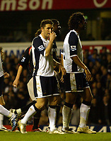 Photo: Chris Ratcliffe.<br />Tottenham Hotspur v Sunderland. The Barclays Premiership. 03/12/2005.<br />Robbie Keane (L) shows his disappointment after missing a penalty