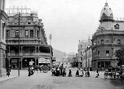Strand Street.jpg<br />The Grand Hotel, at the corner of Strand and Adderley streets, was as much a Cape Town landmark at the turn of the 20th century as the elegant old station building opposite it in Adderley Street (extreme left). The hotel Ð now the site of a branch of Woolworths - featured the famous Coral Lounge, while ÔMeet you under the station clockÕ was a Cape Town rallying cry until the old station gave way to the new in the early 1960s.