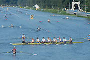 Amsterdam. NETHERLANDS.GBR M8+, picking their way through the crowded course during the training sessions. De Bosbaan Rowing Course, venue for the 2014 FISA  World Rowing. Championships.   09:22:03  Thursday  21/08/2014  [Mandatory Credit; Peter Spurrier/Intersport-images]