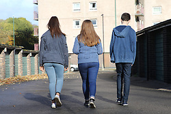 Back view of teenagers walking to flats