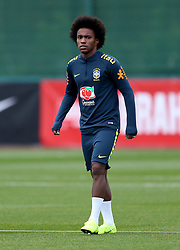 Willian during the training session at London Colney, Hertfordshire.