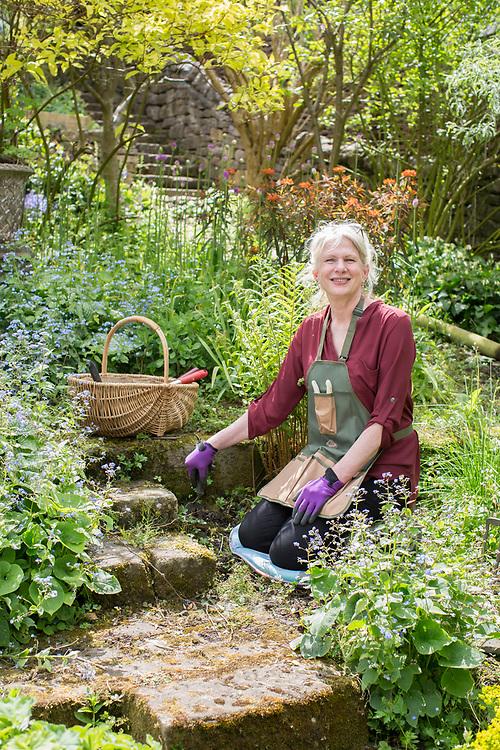 14/05/17 Bakewell , Derbyshire . Ann Trenneman in her garden in Derbyshire