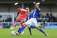 Reece Mitchell, Calvin Andrew during the EFL Cup match between Rochdale and Chesterfield at Spotland, Rochdale, England on 9 August 2016. Photo by Daniel Youngs.