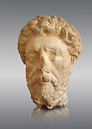 Roman sculpture of the Emperor Marcus Aurelius, excavated  from Carthage made circa 161-180 AD. The Bardo National Museum, Tunis, Inv No: C.965.   Against a grey background. .<br /> <br /> If you prefer to buy from our ALAMY STOCK LIBRARY page at https://www.alamy.com/portfolio/paul-williams-funkystock/greco-roman-sculptures.html . Type -    BARDO    - into LOWER SEARCH WITHIN GALLERY box - Refine search by adding a subject, place, background colour, museum etc.<br /> <br /> Visit our CLASSICAL WORLD HISTORIC SITES PHOTO COLLECTIONS for more photos to download or buy as wall art prints https://funkystock.photoshelter.com/gallery-collection/The-Romans-Art-Artefacts-Antiquities-Historic-Sites-Pictures-Images/C0000r2uLJJo9_s0c