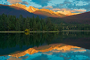 LAke Annette reflection at sunset<br />Jasper National Park<br />Alberta<br />Canada
